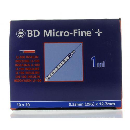 BD MICROFINE+ SERINGUE INSULINE 1 ML 29G 12,7 MM (100)