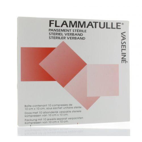 FLAMMATULLE VASELINE COMPRESSES 10 X 10 CM (10)