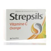 STREPSILS ORANGE VITAMINE C ORANGE 36 PASTILLES A SUCER