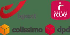 Livraison via Bpost, Collissimo, DPD